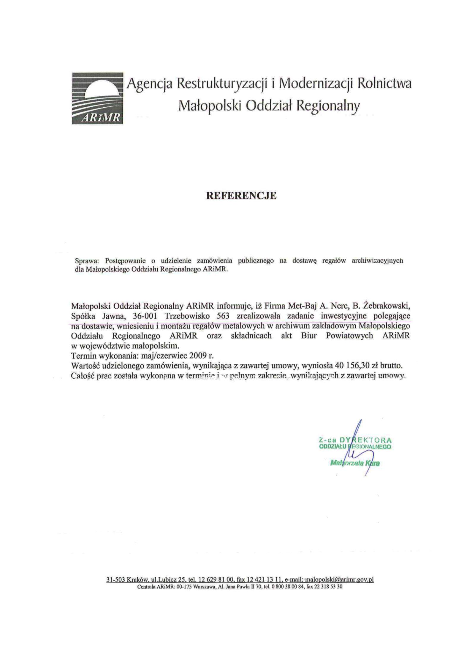 Referencje Małopolski Oddział Regionalny ARiMR