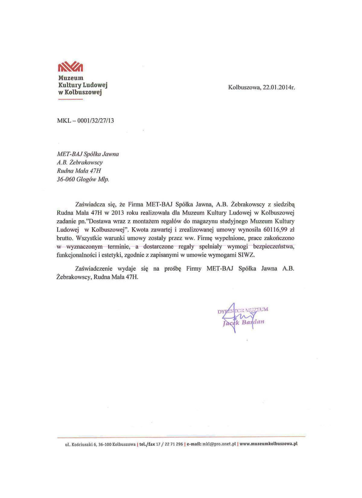 Referencje Muzeum Kultury Ludowej w Kolbuszowej