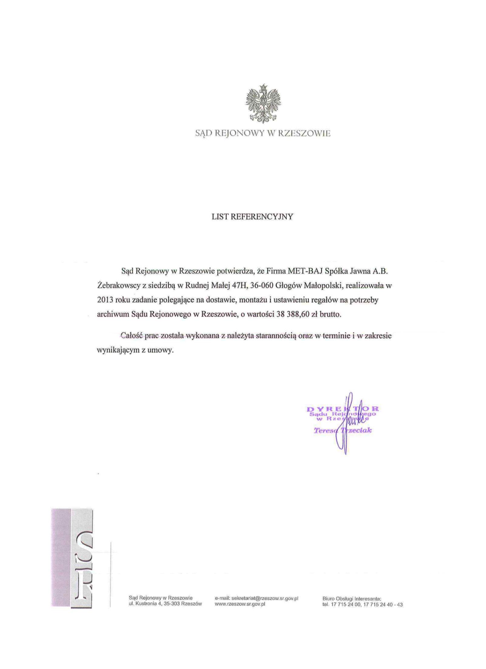 Referencje Sąd Rejonowy w Rzeszowie