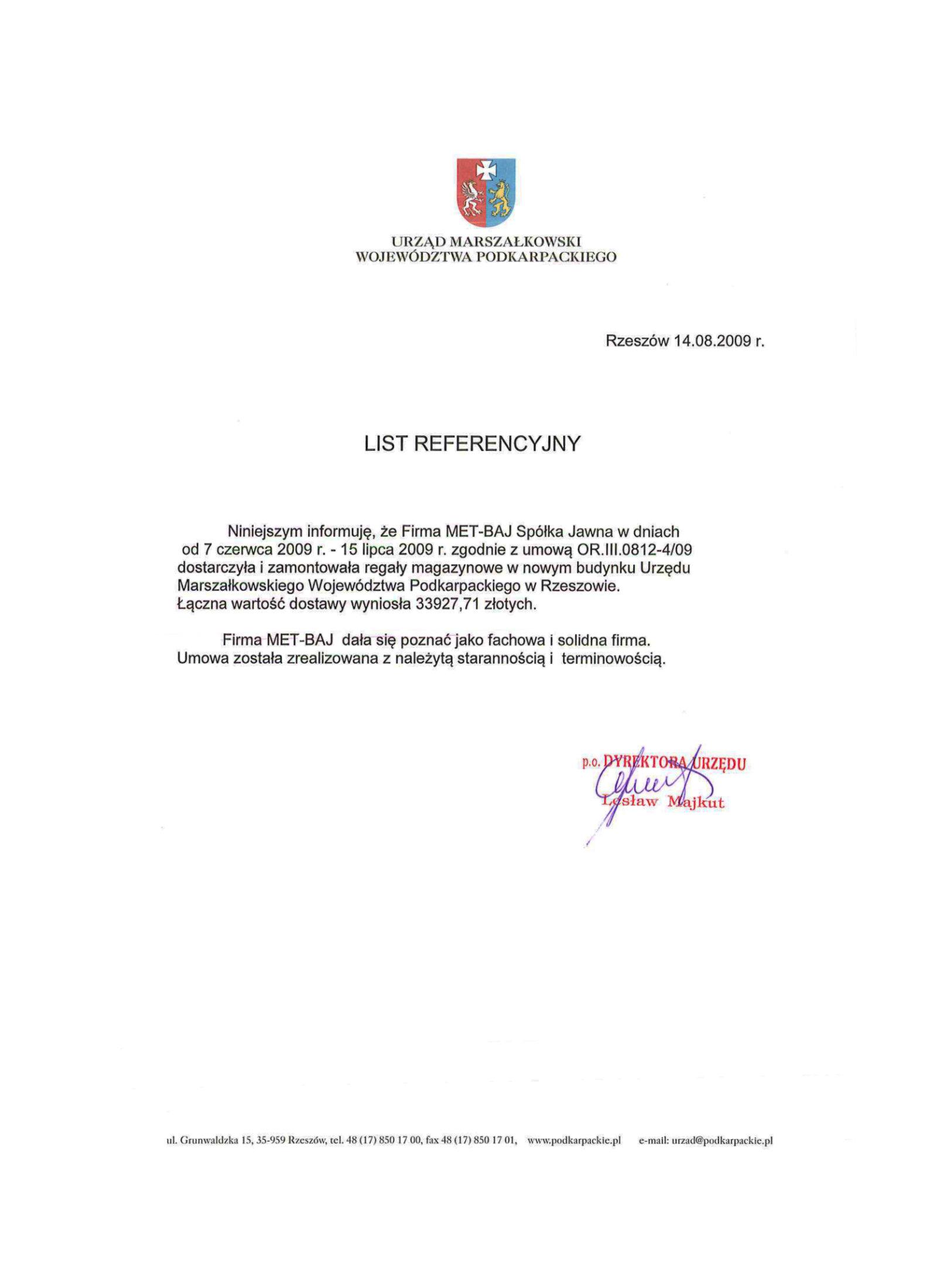Referencje - Urząd Marszałkowski Województwa Podkarpackiego