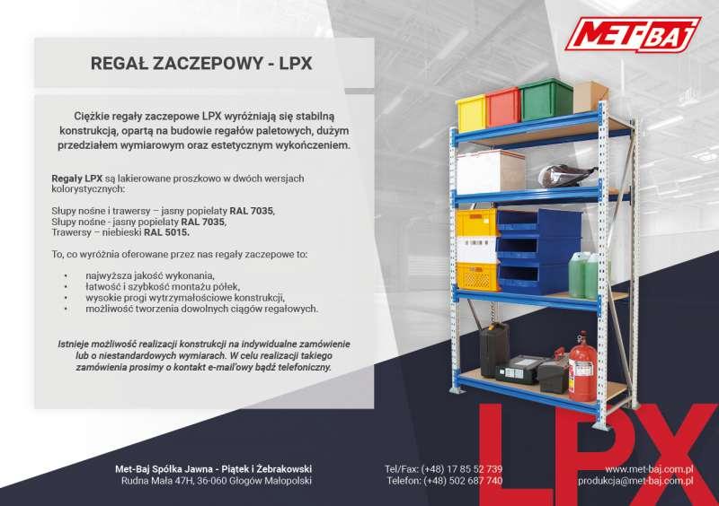 Metalowy regał zaczepowy LPX typu ciężkiego z półkami