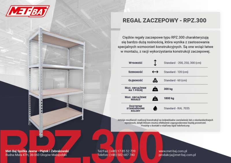 Metalowy regał zaczepowy RPZ300 typu ciężkiego z półkami